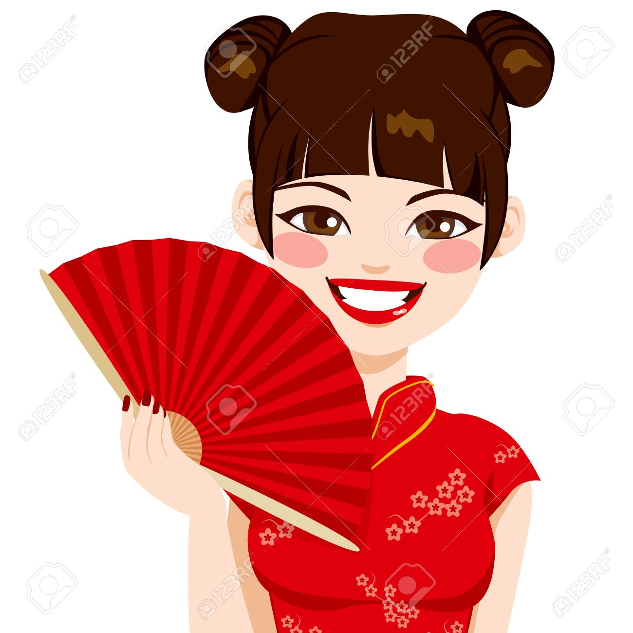 Beautiful brunette chinese woman holding red fan smiling happy Stock Vector - 27456547