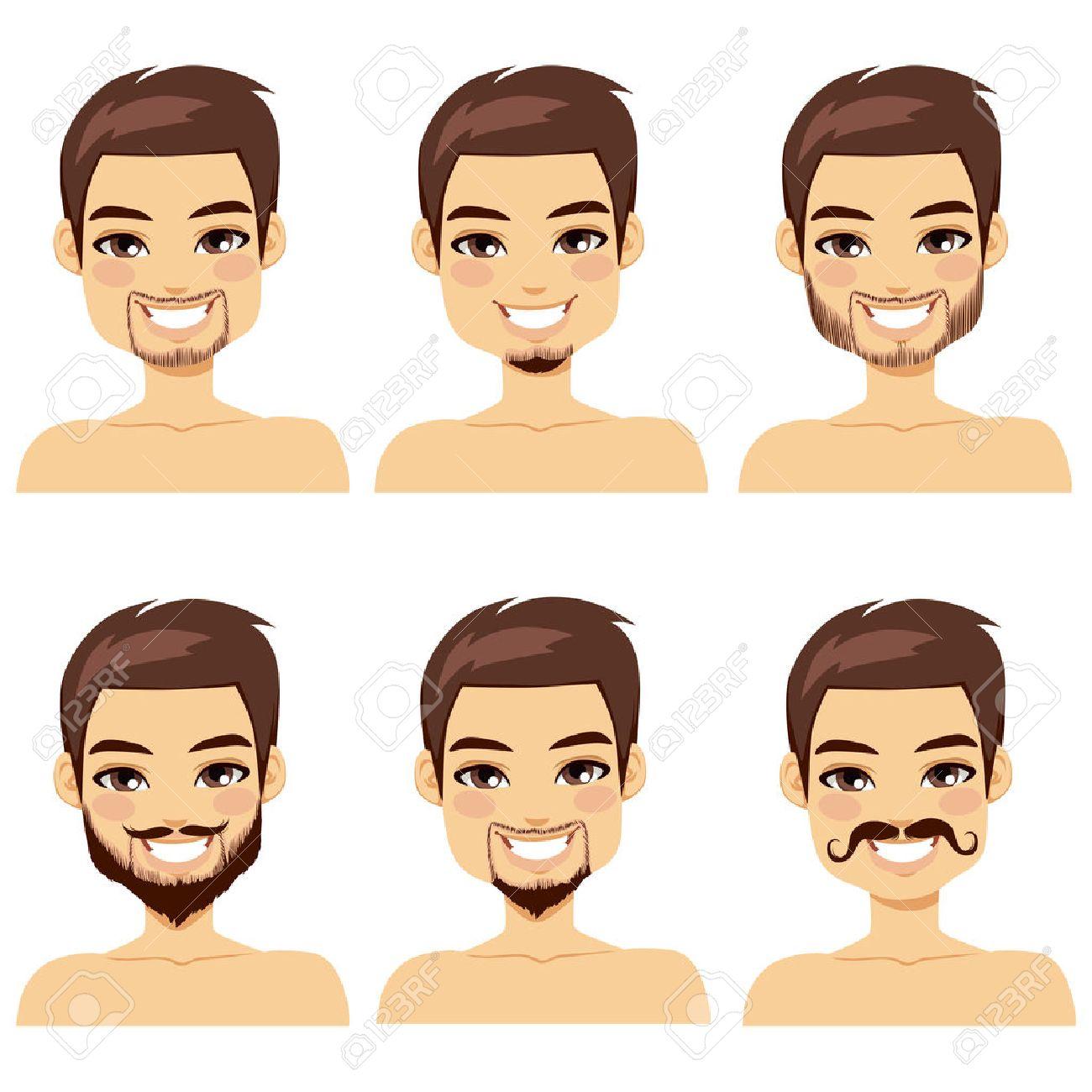 Le célèbre Bel Homme Aux Cheveux Bruns Avec Différents Styles De Barbe Clip @LL_44
