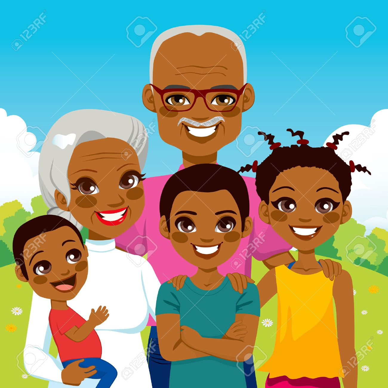 Cute African American Grandparents With Grandchildren Family Together On  Park Smiling Happy Stock Vector 28030059