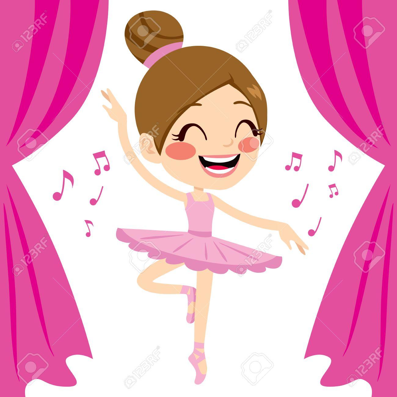 Beautiful Ballet Dancer Girl Dancing Wearing Pink Tutu And Pointe ...