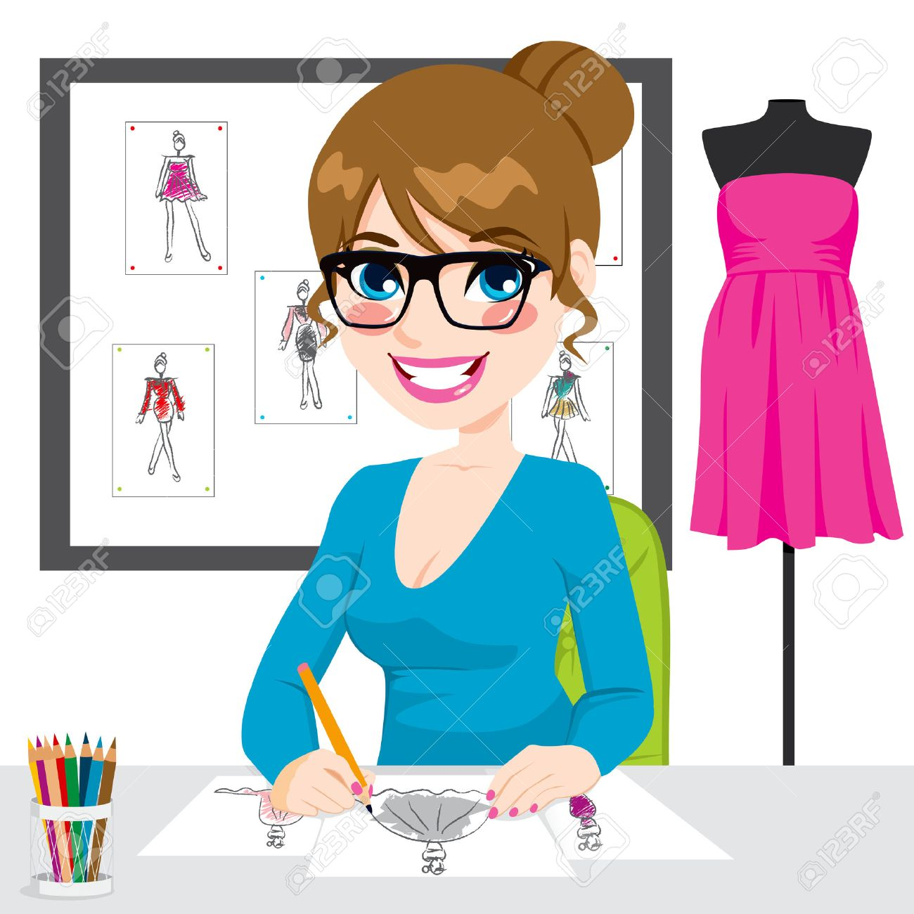 Beautiful young fashion designer drawing dress design sketches
