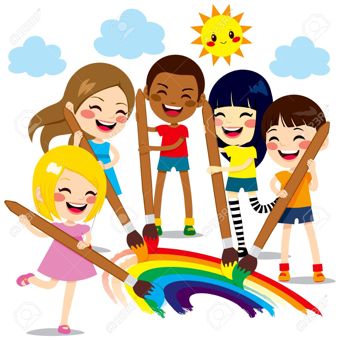 five cute little kids painting together a beautiful colorful rainbow with paint colors and brushes stock - Kids Pictures To Paint