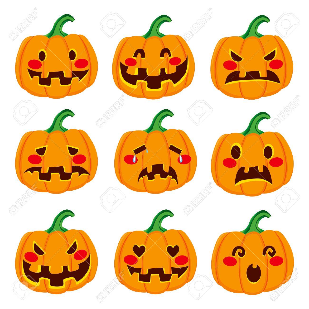 Cute Halloween Pumpkin Decoration Making Nine Different Funny ...