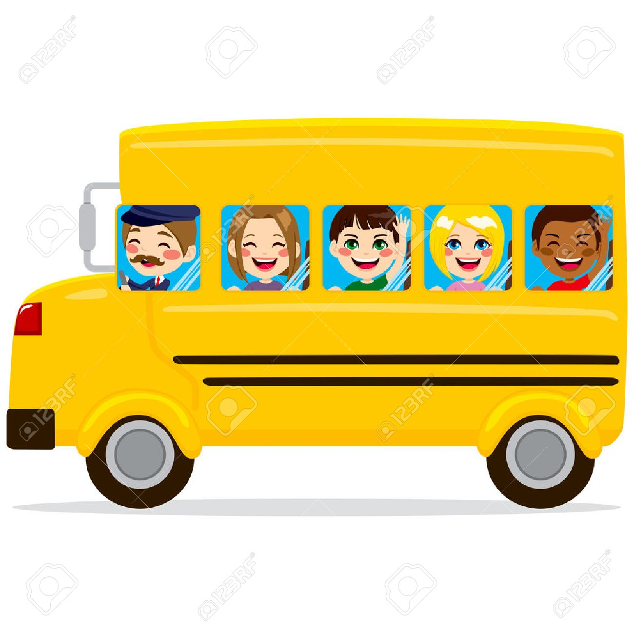 illustration of school bus with cute happy kids and driver royalty rh 123rf com Magic School Bus Clip Art Magic School Bus Clip Art