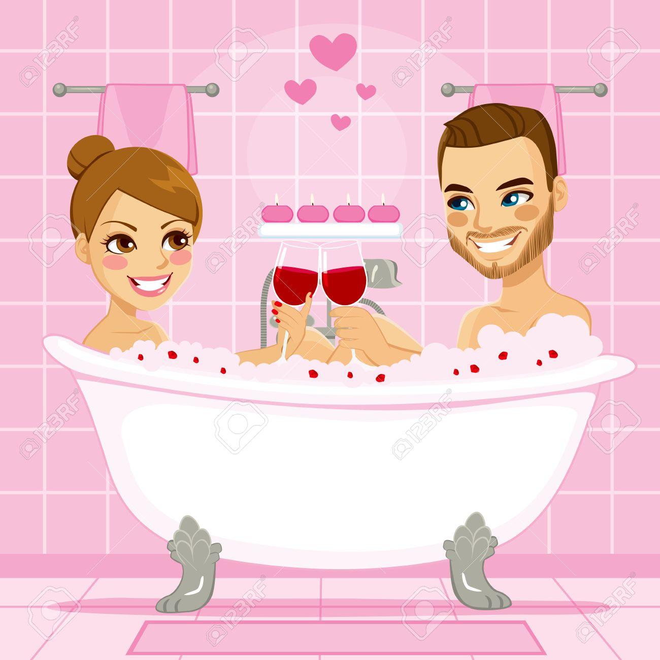 Attractive Couple En Bénéficiant Dun Amour Rose Détente Bain
