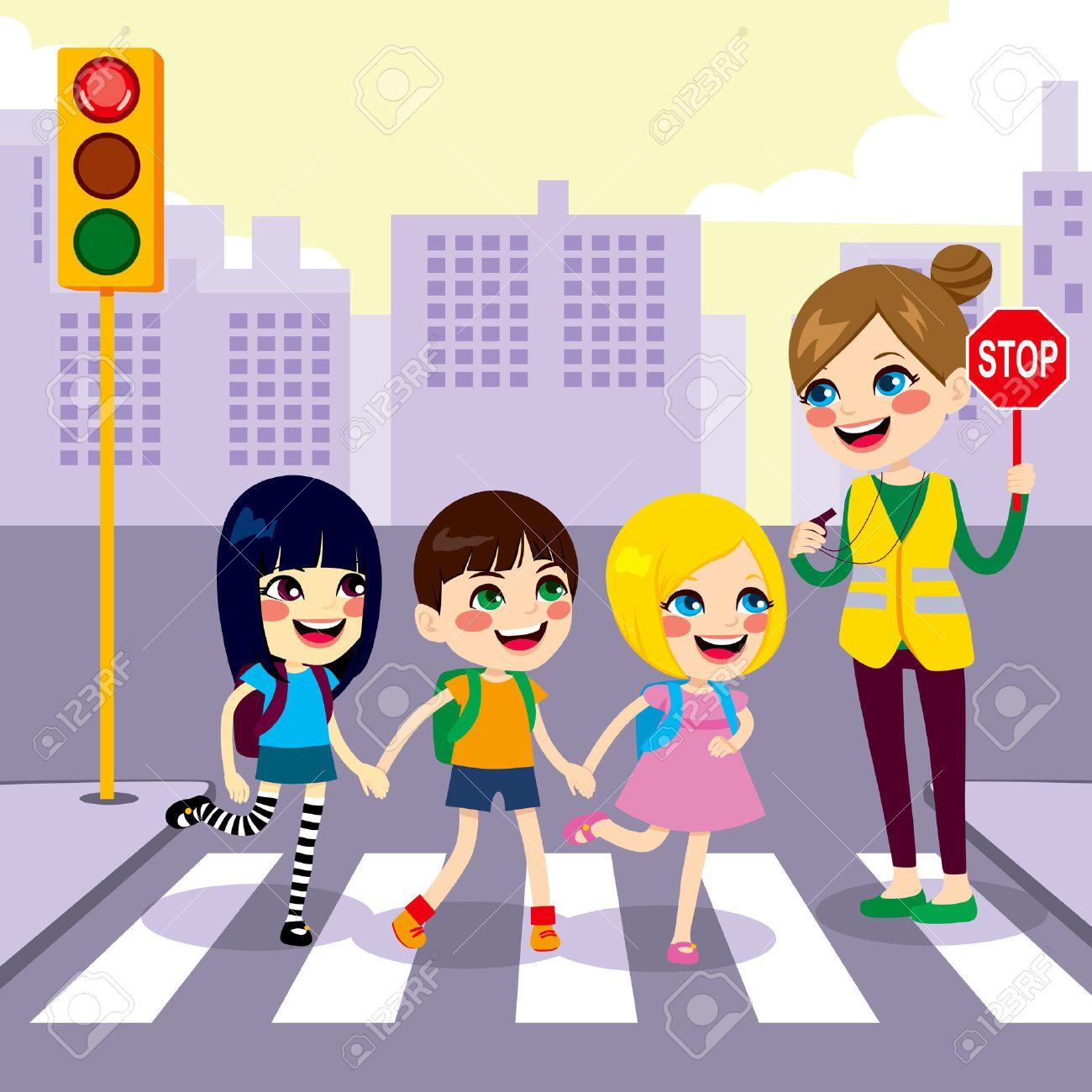 542260 street cliparts stock vector and royalty free street three cute little children school students crossing street together with help from female teacher holding stop biocorpaavc Choice Image