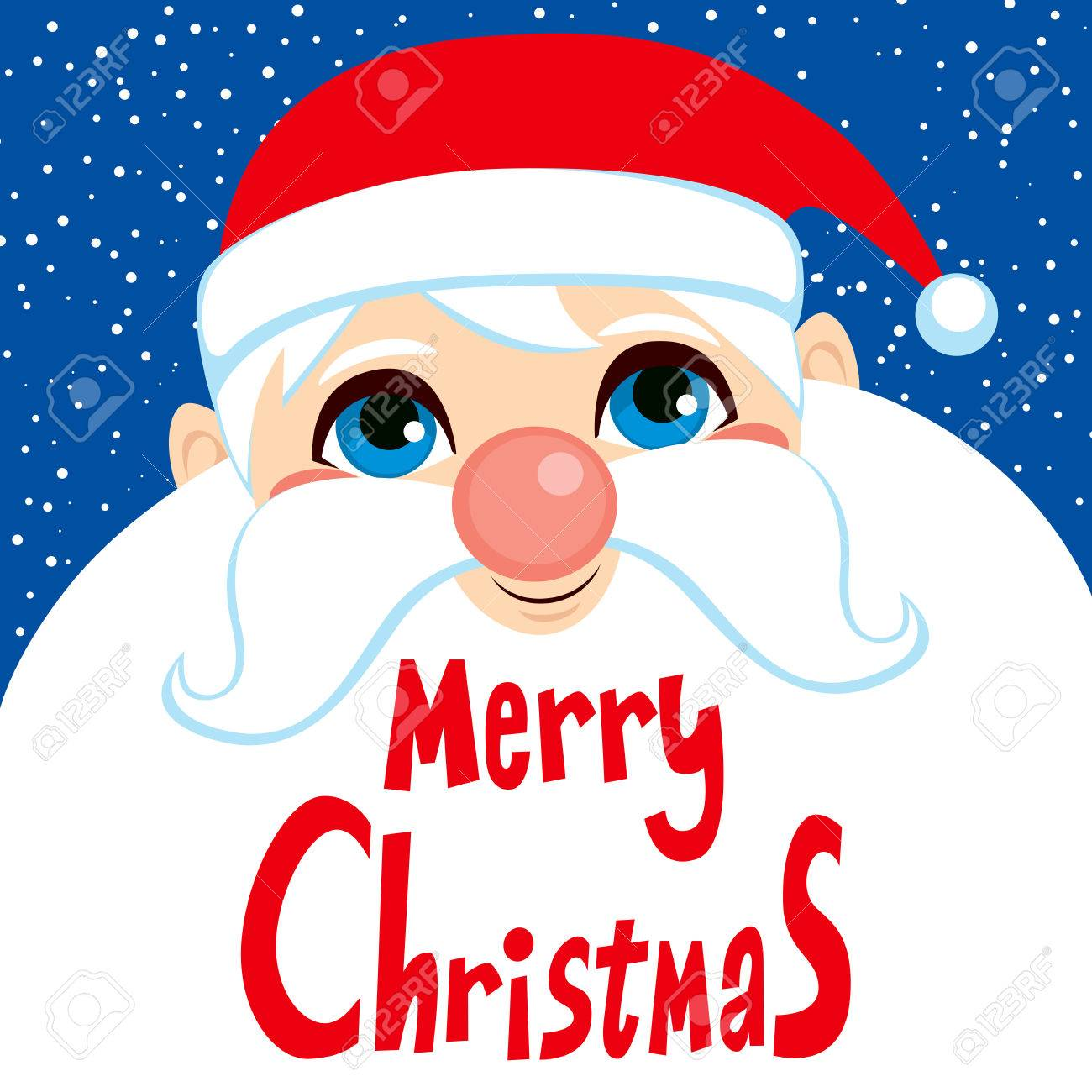 Cute Santa Claus Face Portrait With Merry Christmas Greetings