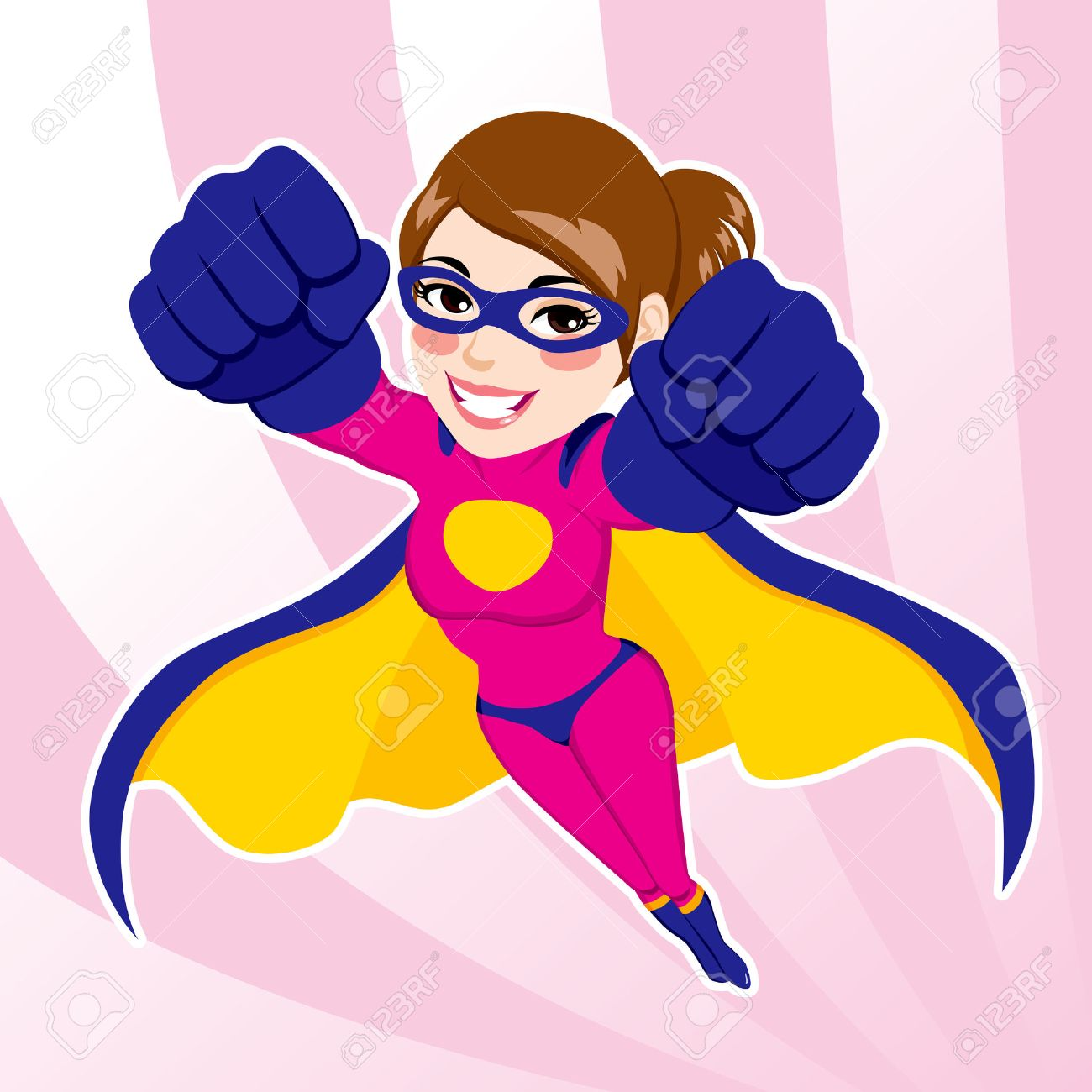 Illustration Of Sexy Beautiful Fit Woman In Superhero Costume ...