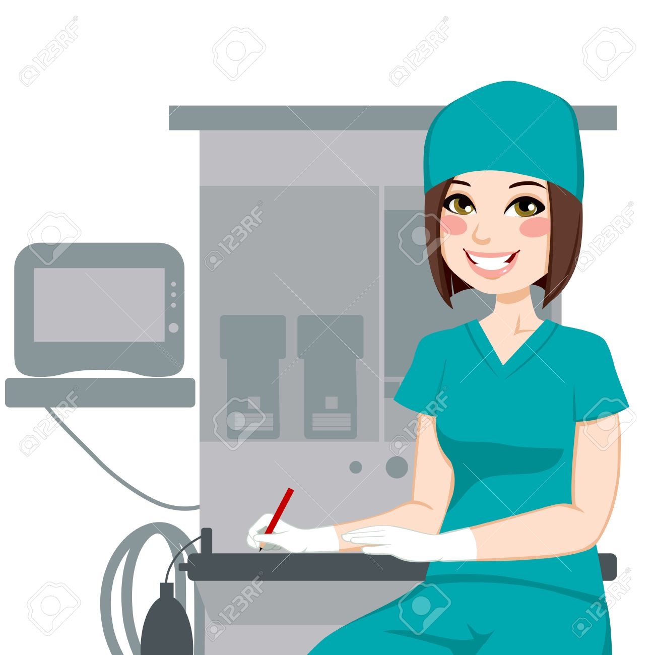 Young Female Nurse Working Writing Documents In Front Of Anesthetist