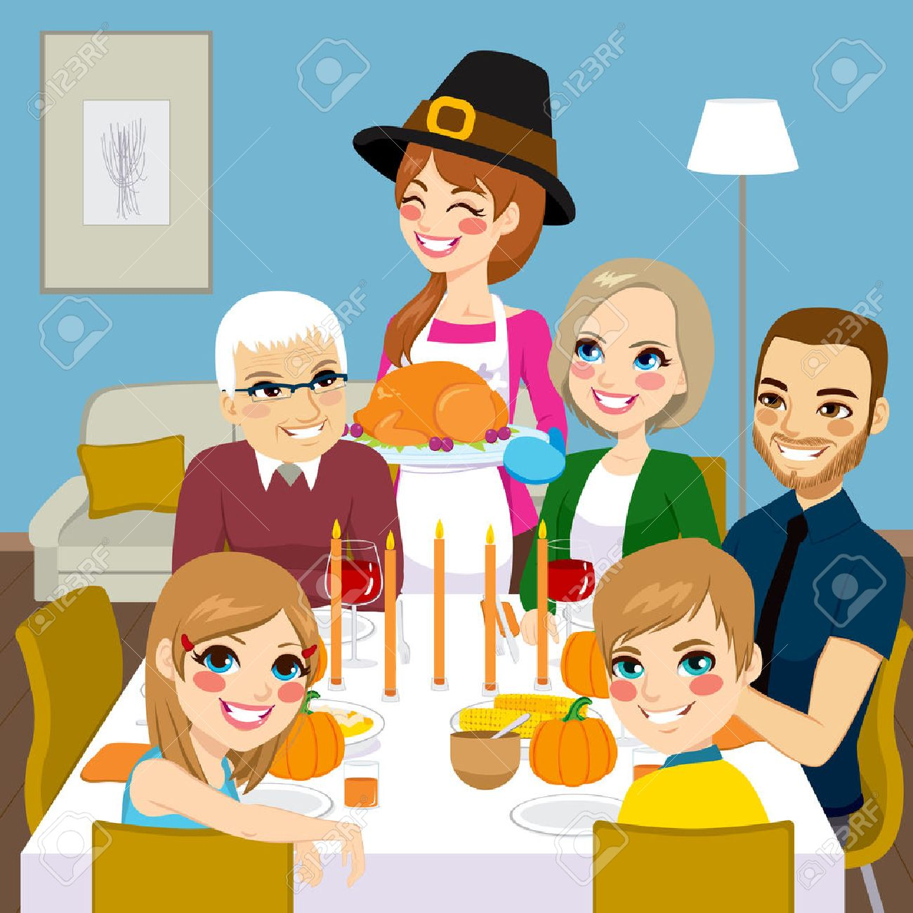 Happy Family Having Thanksgiving Dinner Together With Mom Serving Traditional Roasted Turkey Stock Vector