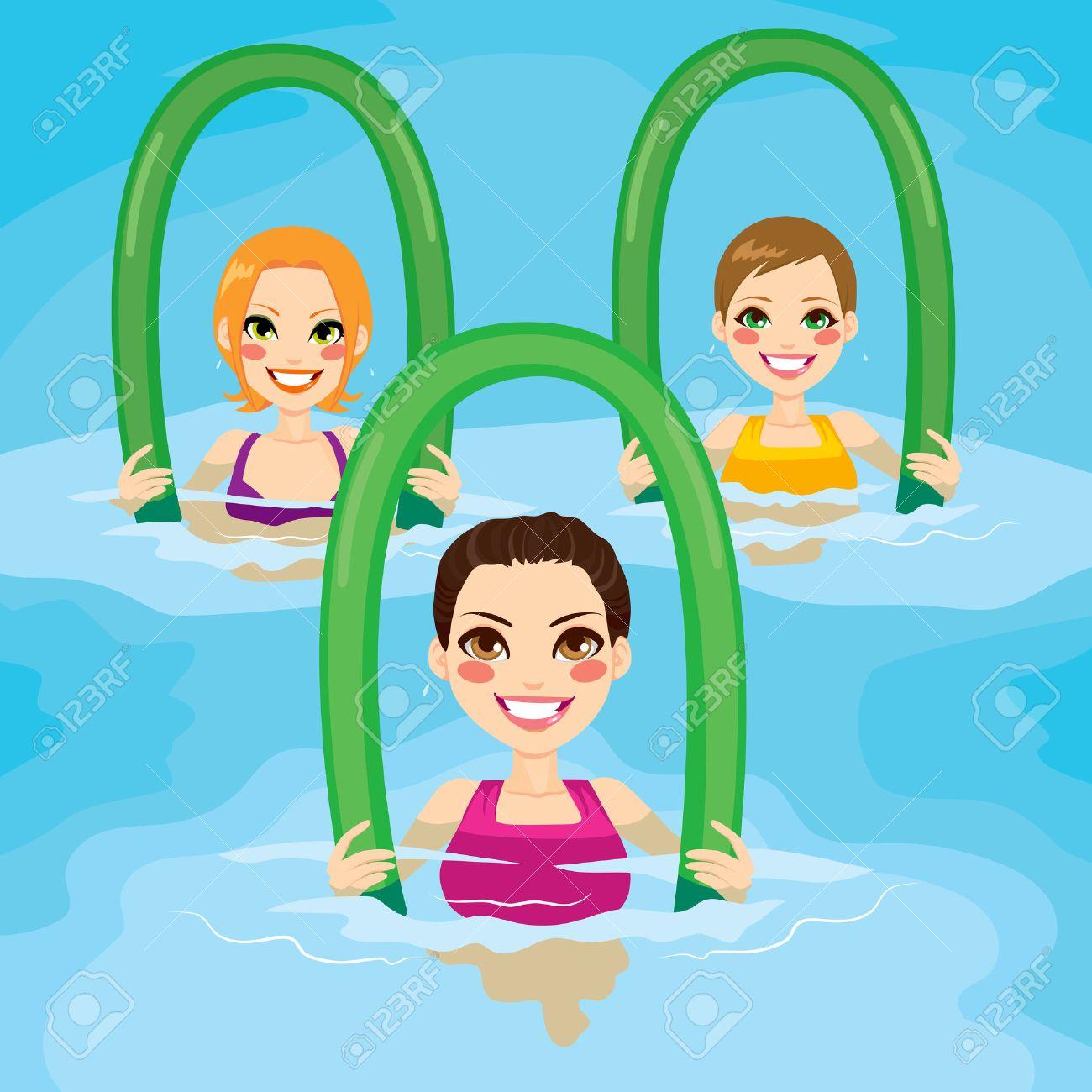 Hervorragend Un Petit Groupe De Femmes Faisant Des Exercices D'aquagym Avec Des  VK09