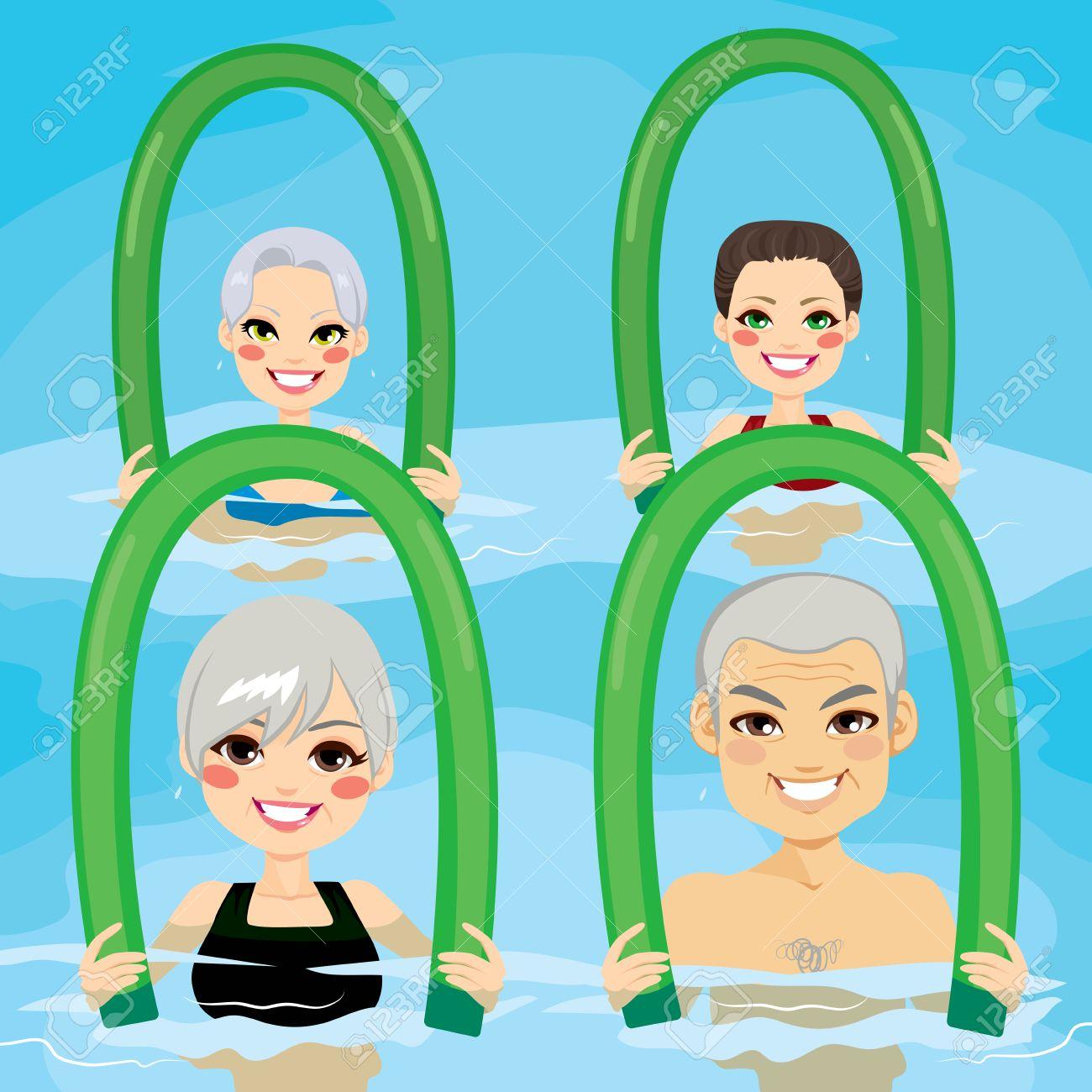 Hervorragend Petit Groupe De Personnes âgées Ayant Des Exercices D'aquagym Avec  VK09
