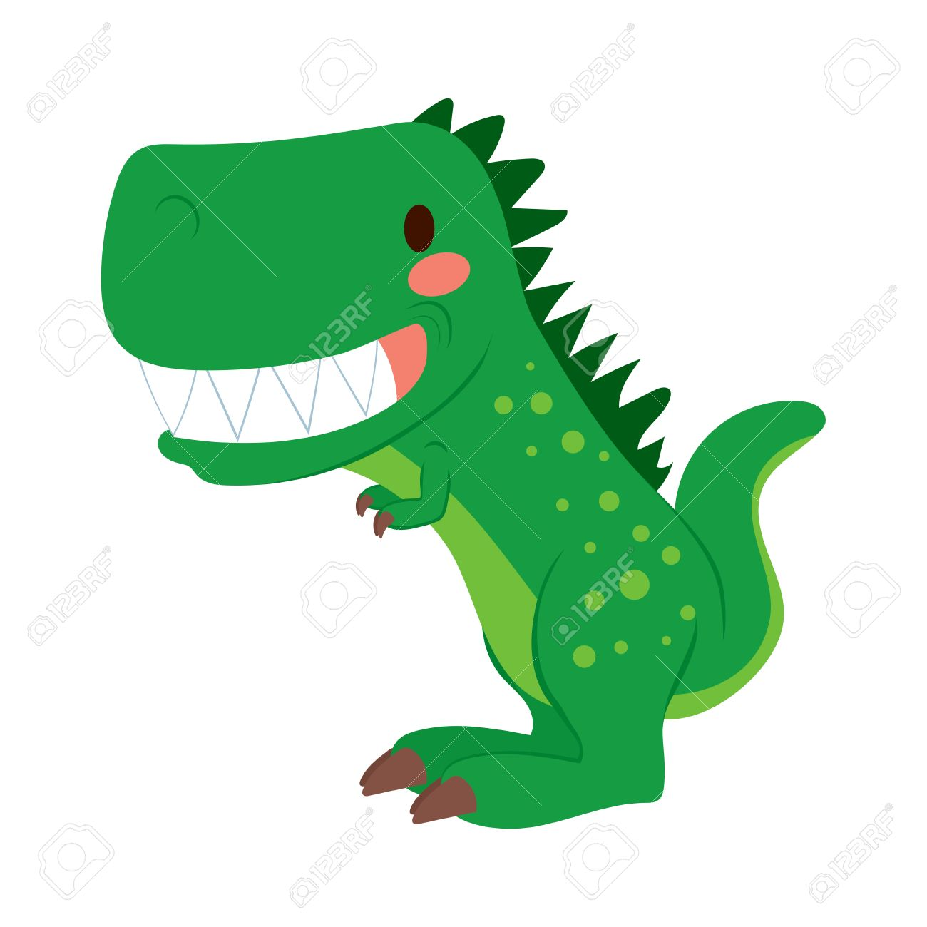 funny green cartoon t rex dinosaur toy showing teeth royalty free