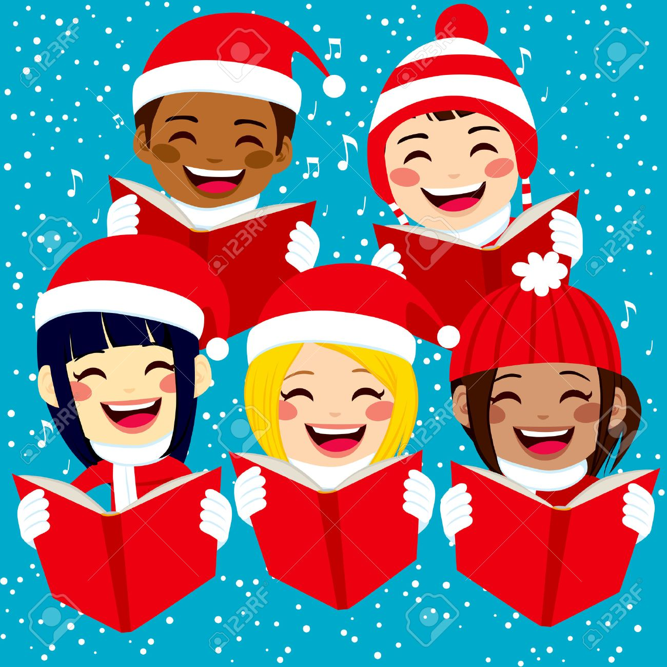 Christmas Singing Images.Five Cute Happy Children Singing Christmas Carols With Snowflakes