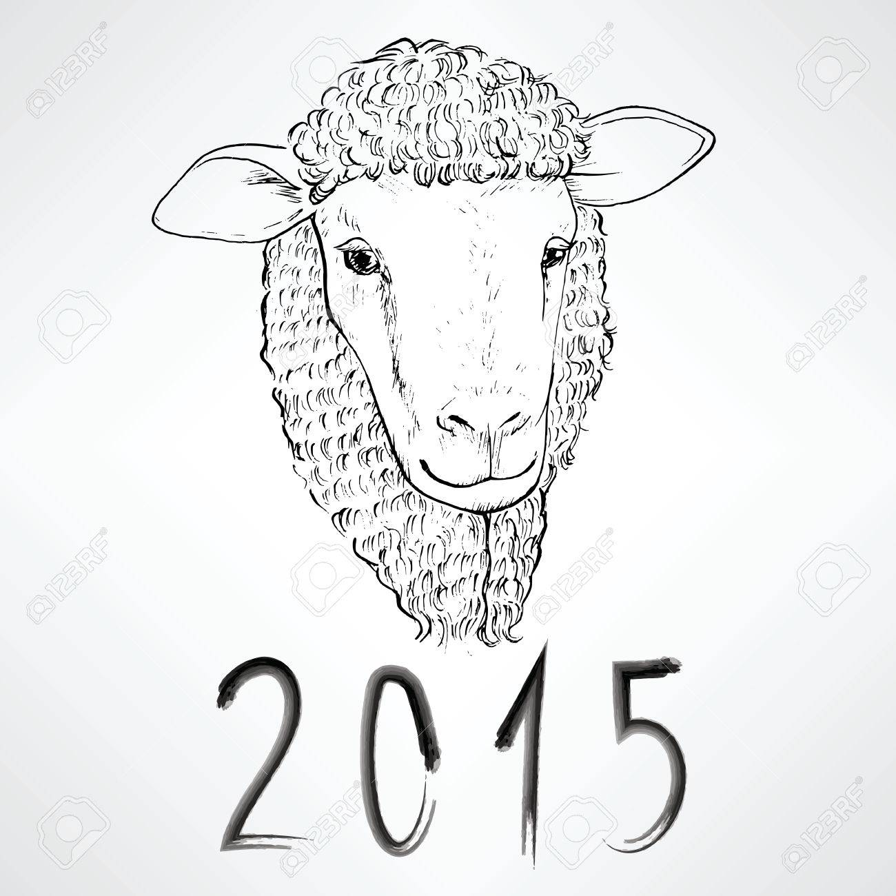 Black Ink Realistic Sheep Portrait Drawing With 2015 Text For Chinese New Year Stock Vector