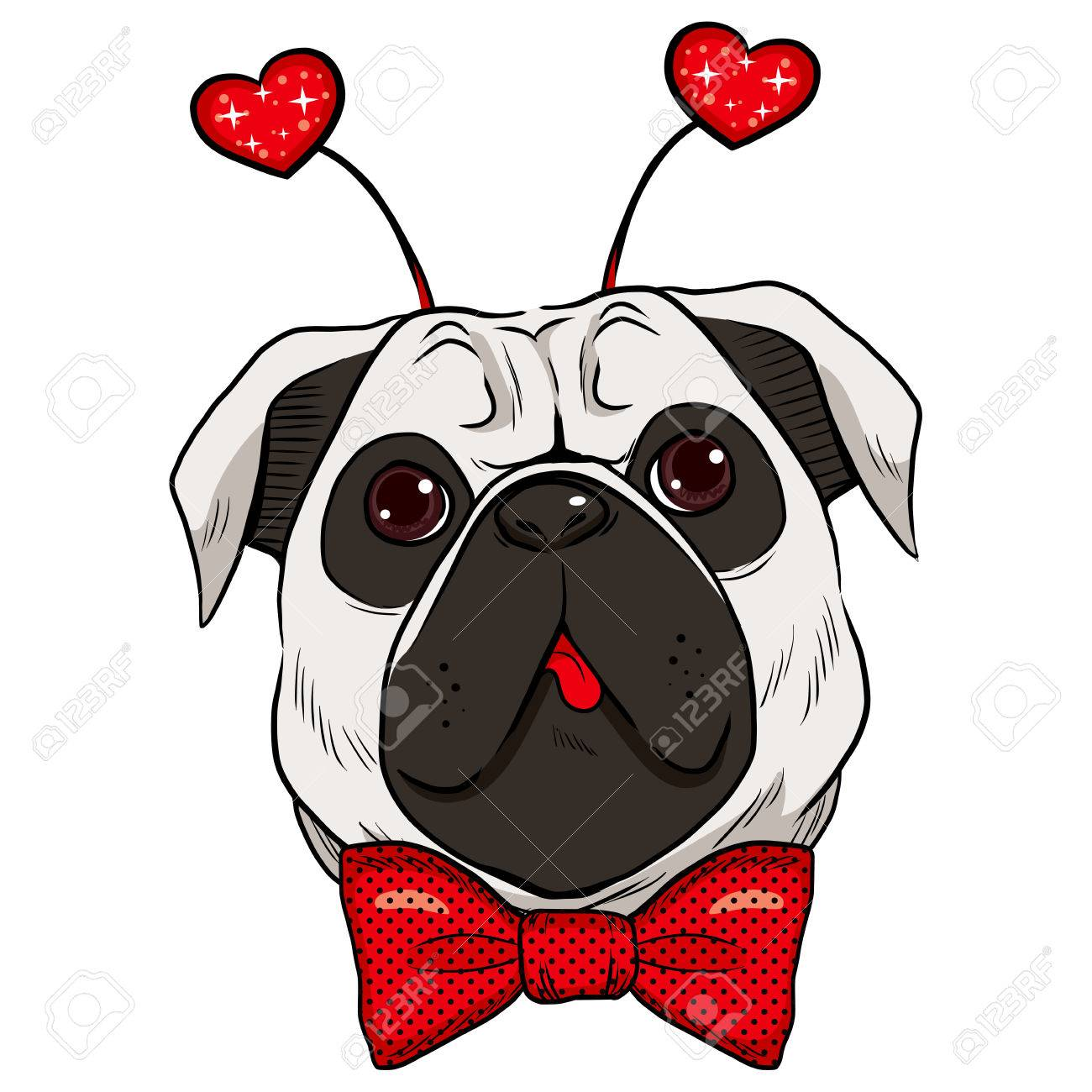 Best Pug Bow Adorable Dog - 35595892-cute-st-valentine-pug-dog-showing-tongue-with-red-bowtie-and-fashionable-red-sparkling-heart-accesso  Snapshot_59730  .jpg