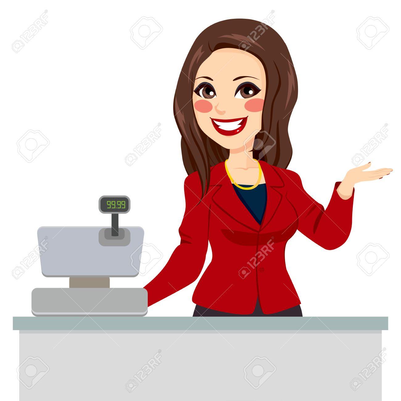 Confidente hermosa morena vendedor cajero con el brazo para arriba listo para asistir al cliente Foto de archivo - 35894132