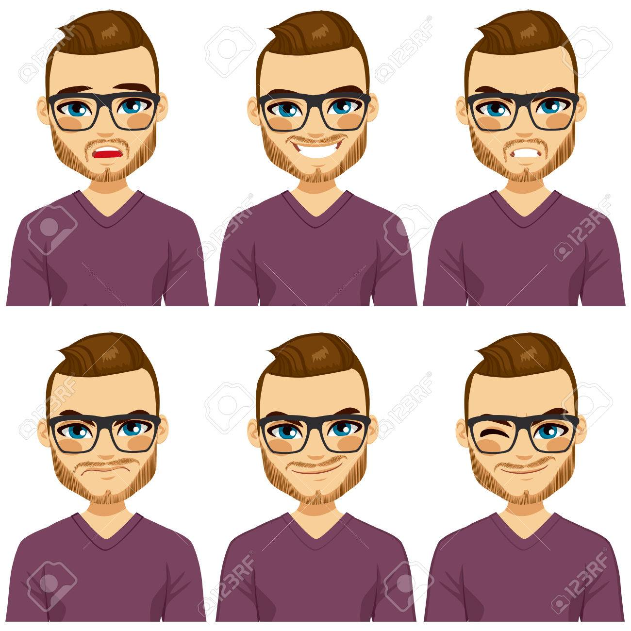 Attractive brown haired young hipster man with glasses on six different face expressions collection - 38677432