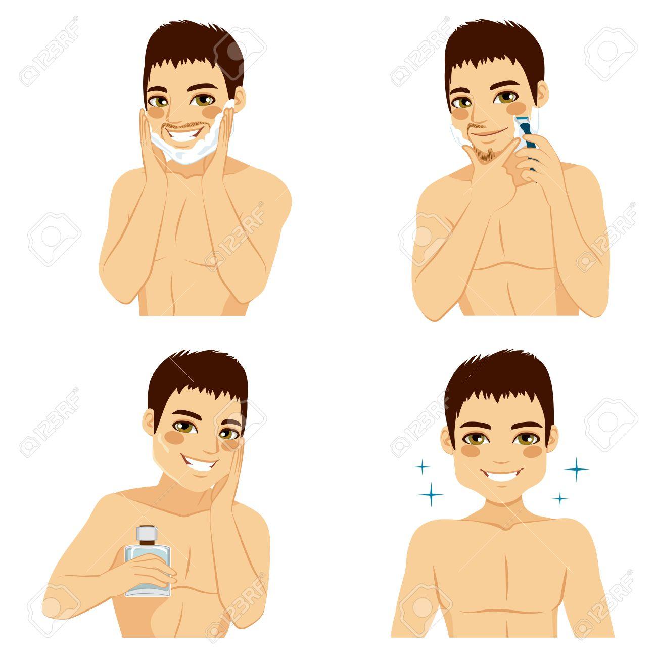 after rasieren mann