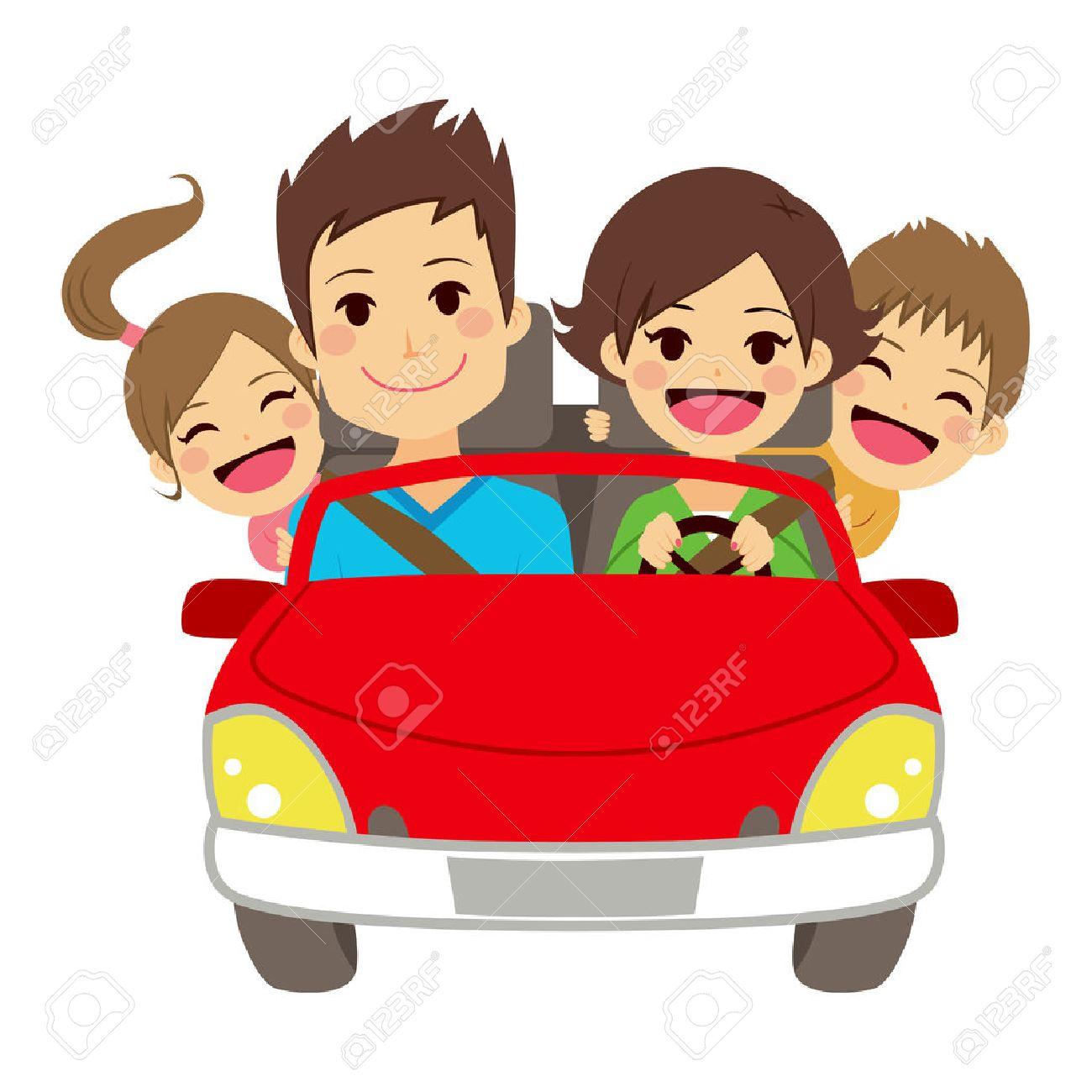 Ilustração De Família Feliz Fofa De Quatro Membros Sorrindo No Carro