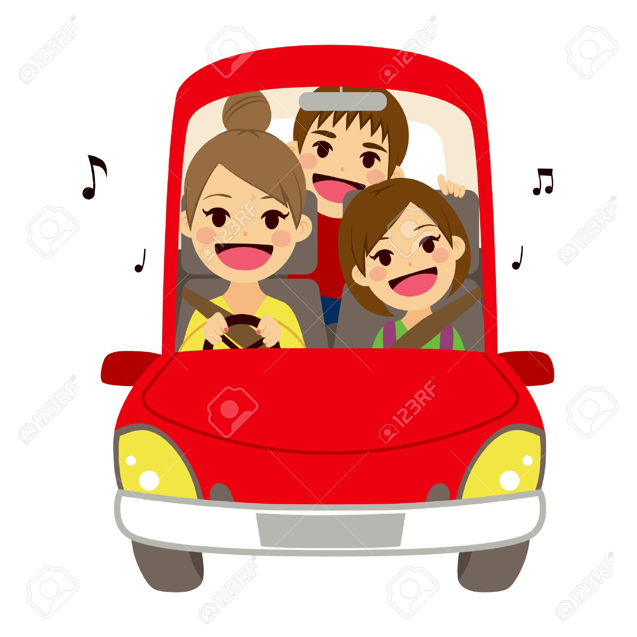 Happy mom and kids singing on car driving to school - 40977337