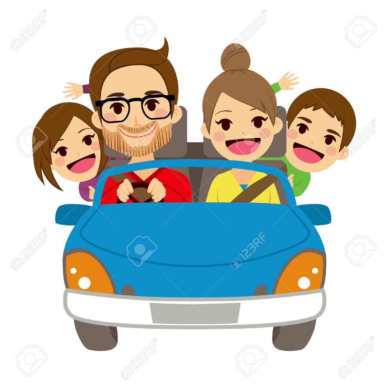 青い車で旅する 4 人のメンバーのかわいい幸せな家族のイラスト