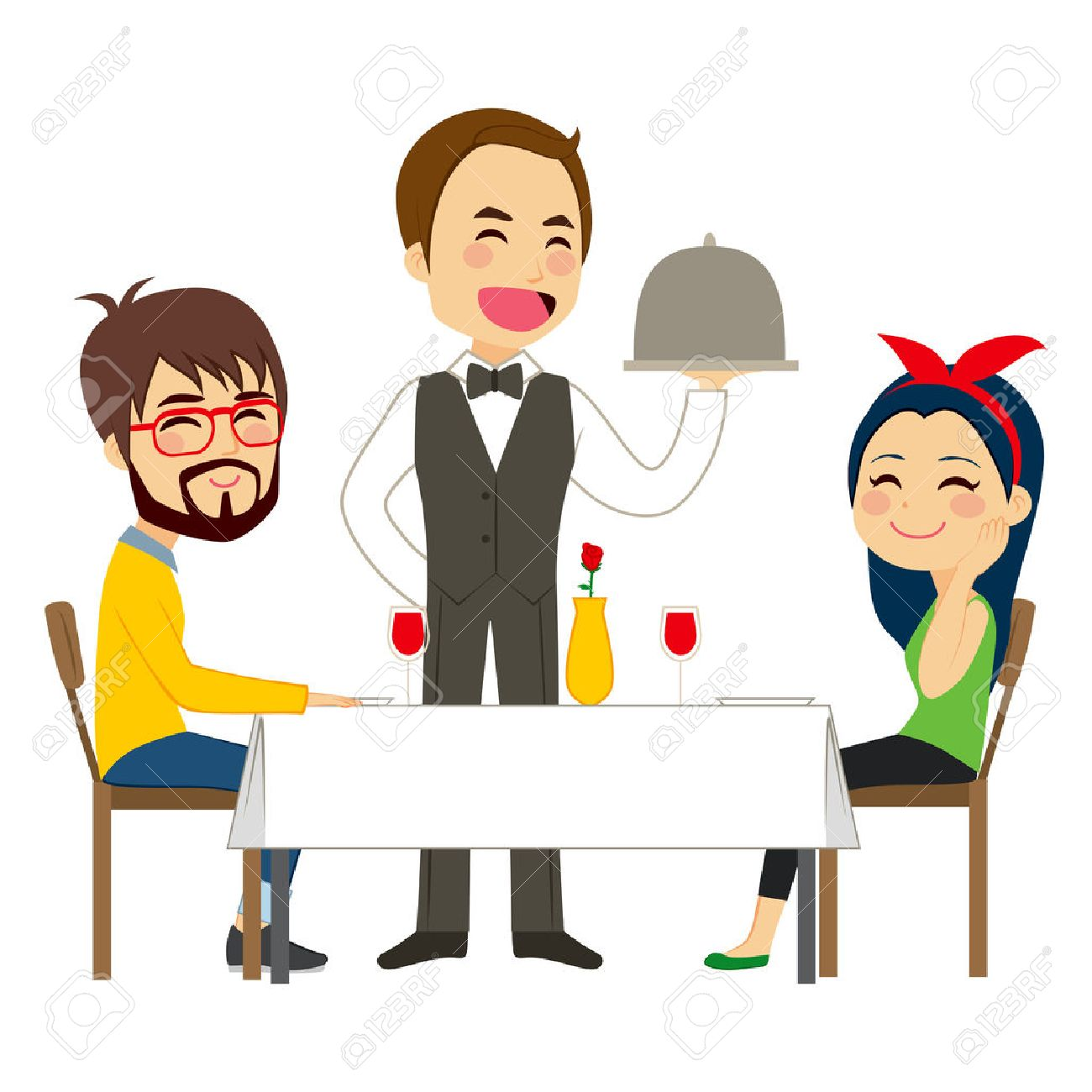 Happy waiter serving on restaurant to lovely casual couple - 41225566