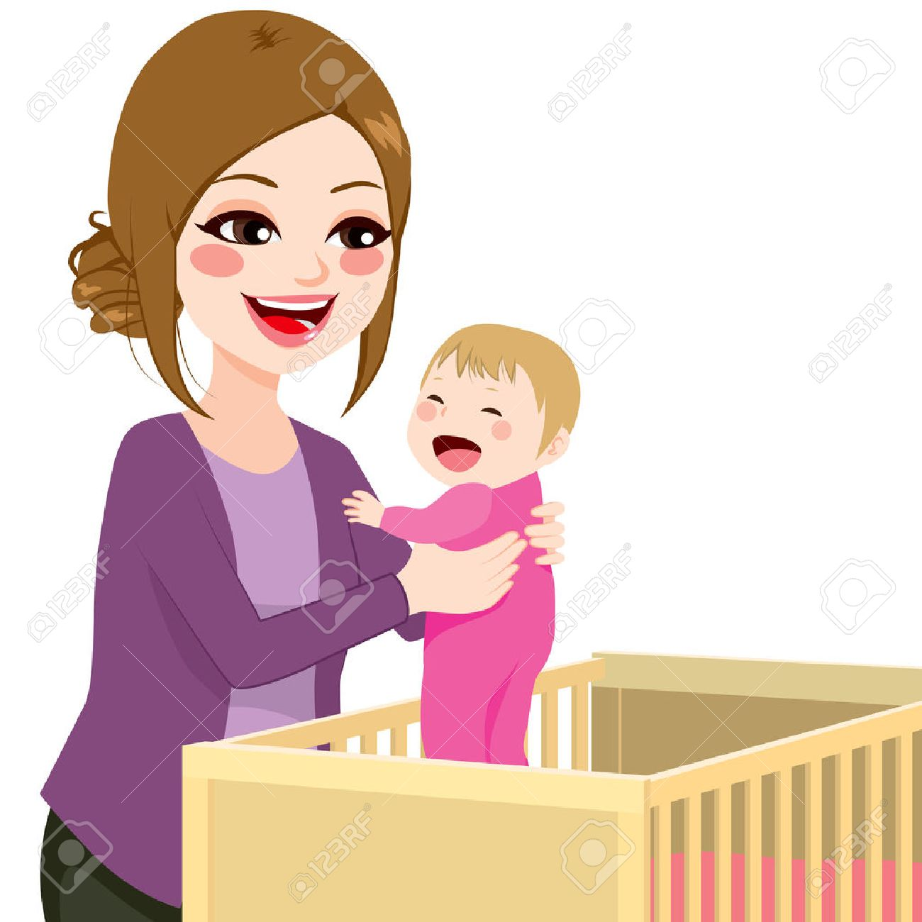 Beautiful Young Mom Picking Baby Girl From Crib Royalty Free Cliparts Vectors And Stock Illustration Image 41857575