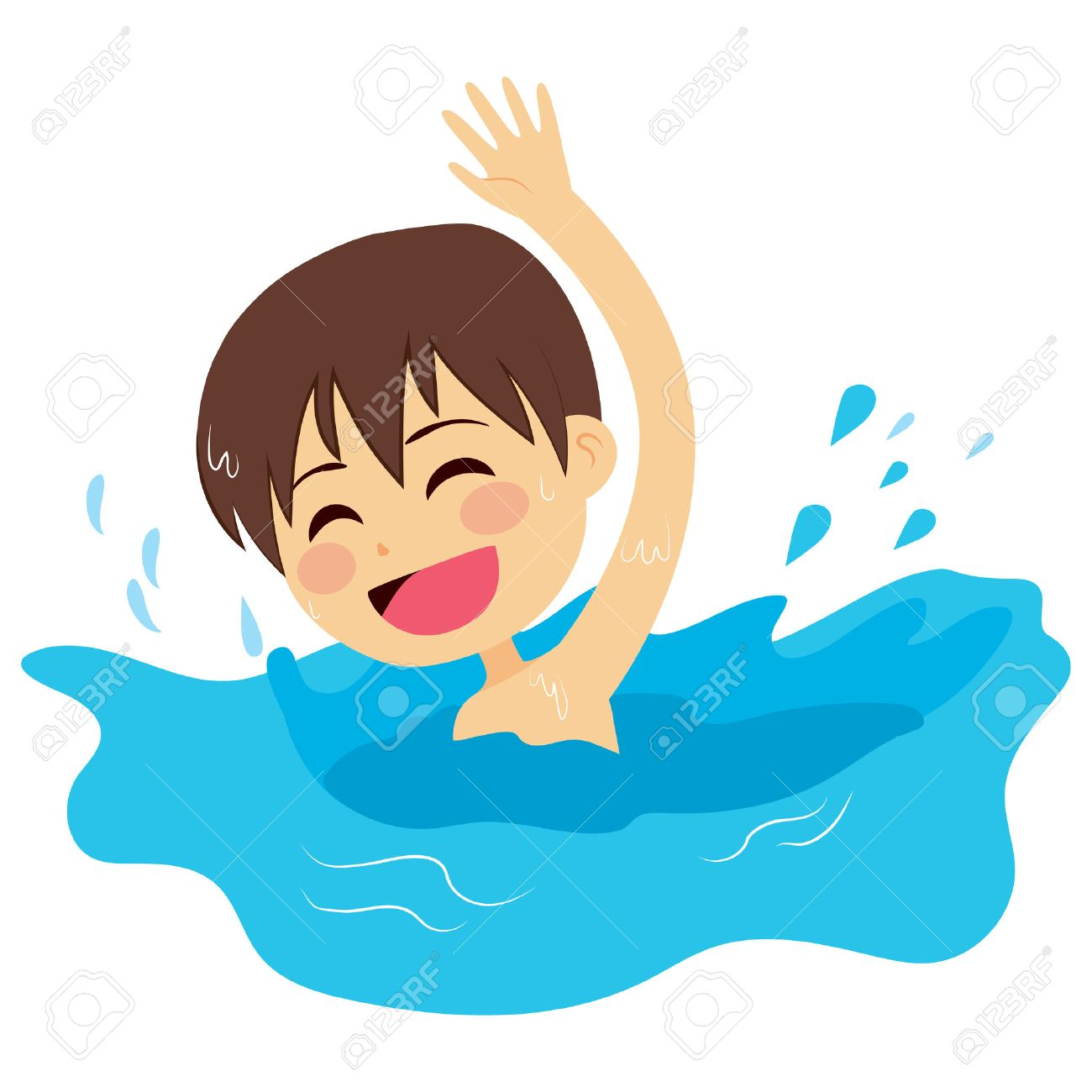 cheerful and active little kid swimming happy on water royalty free rh 123rf com Swimming Pool Clip Art Girl Swimming Clip Art
