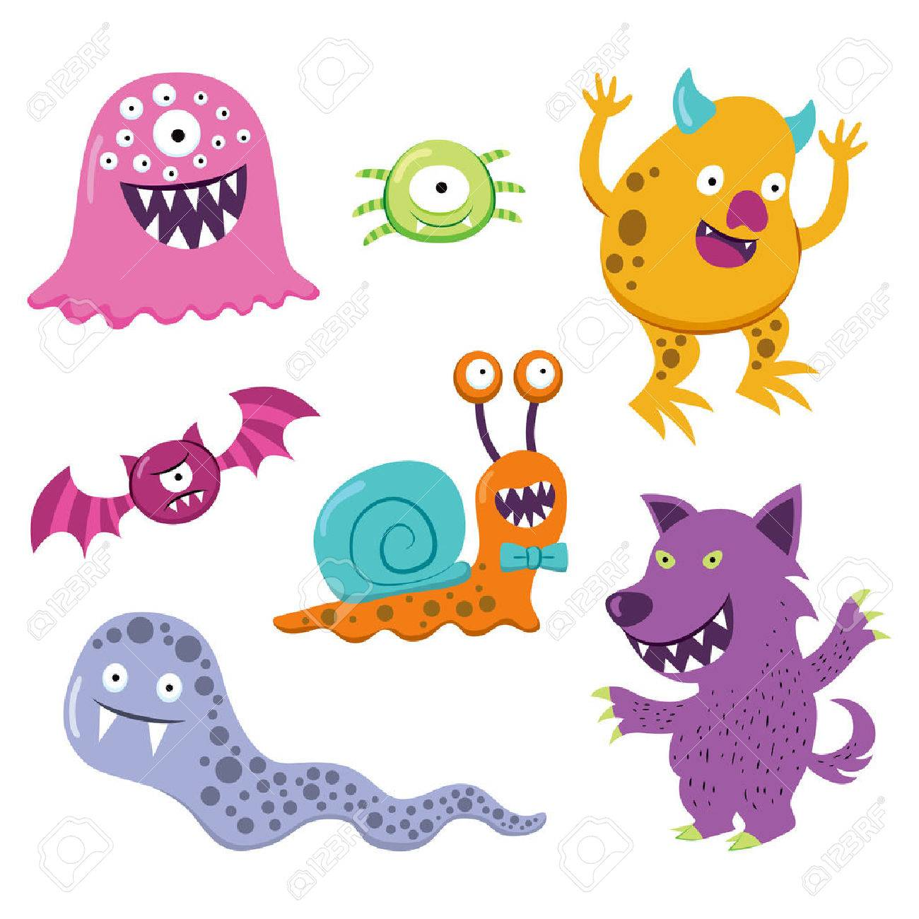 Collection Of Different Happy Halloween Colorful Monster Animal ...