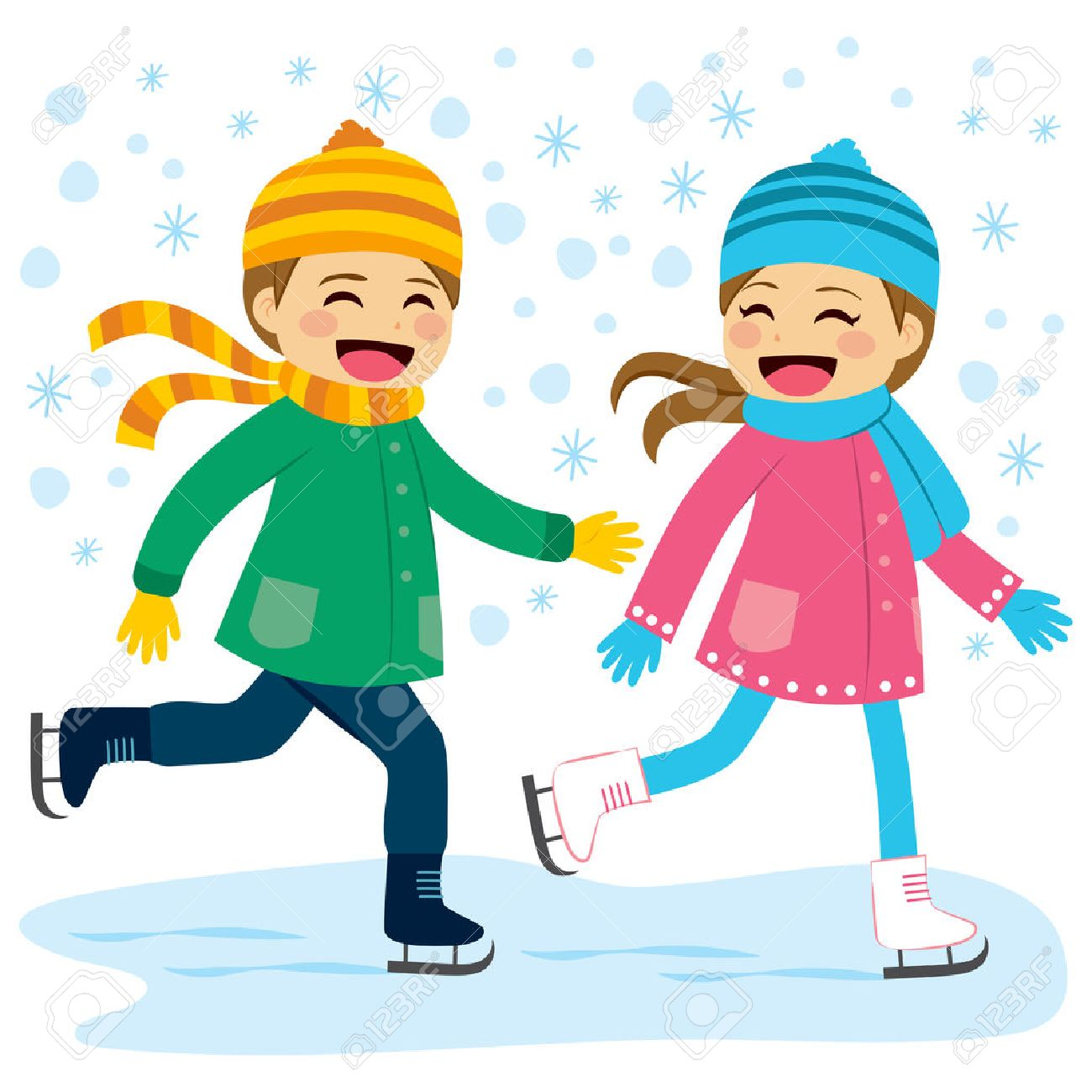 cute boy and girl wearing warm winter clothes ice skating together rh 123rf com