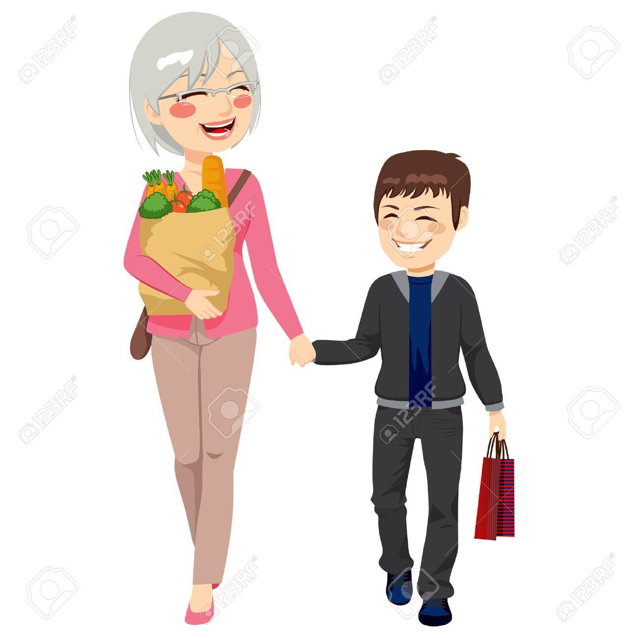 lovely grandmother grocery paper bag and grandson shopping lovely grandmother grocery paper bag and grandson shopping together helping grandparent holding bags stock vector
