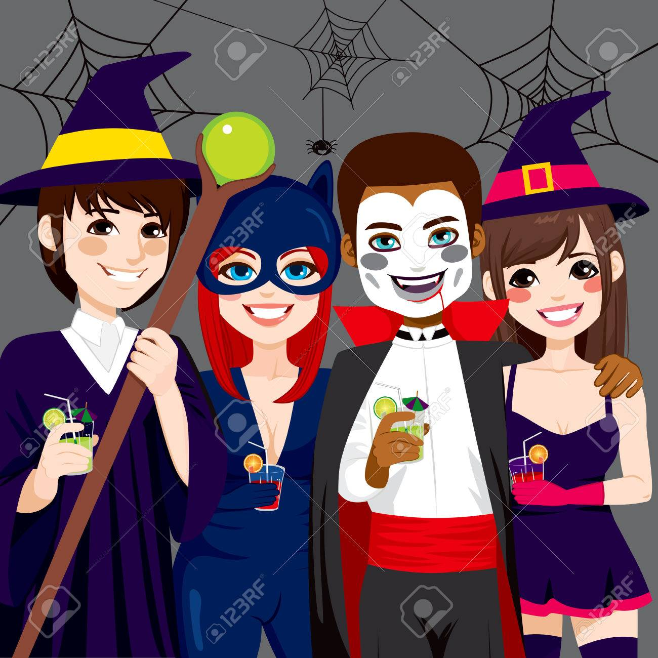 Small group of young adult people enjoying Halloween costume party while drinking Stock Vector - 46728230 & Small Group Of Young Adult People Enjoying Halloween Costume ...