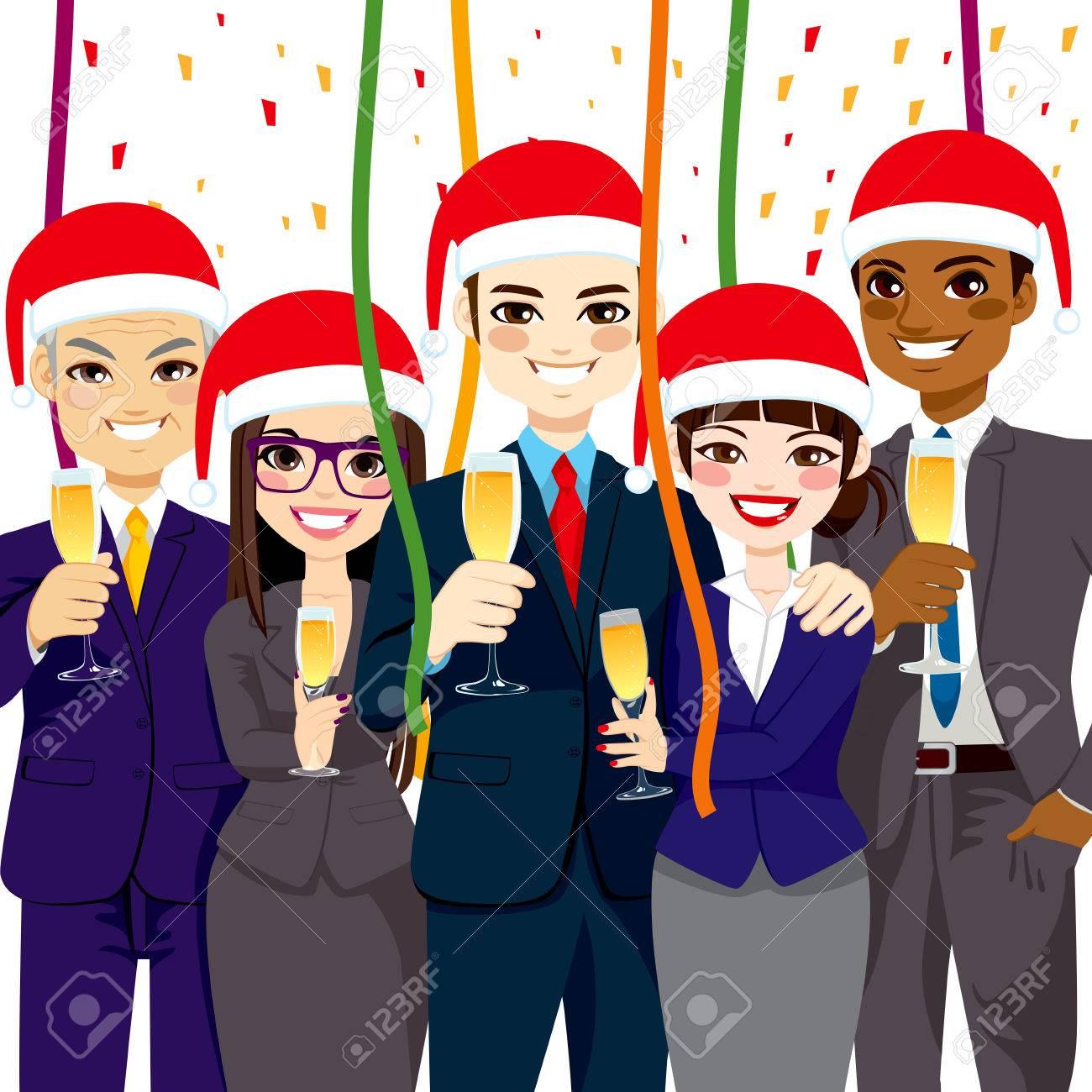Weihnachtsfeier Kleine Gruppe.Stock Photo