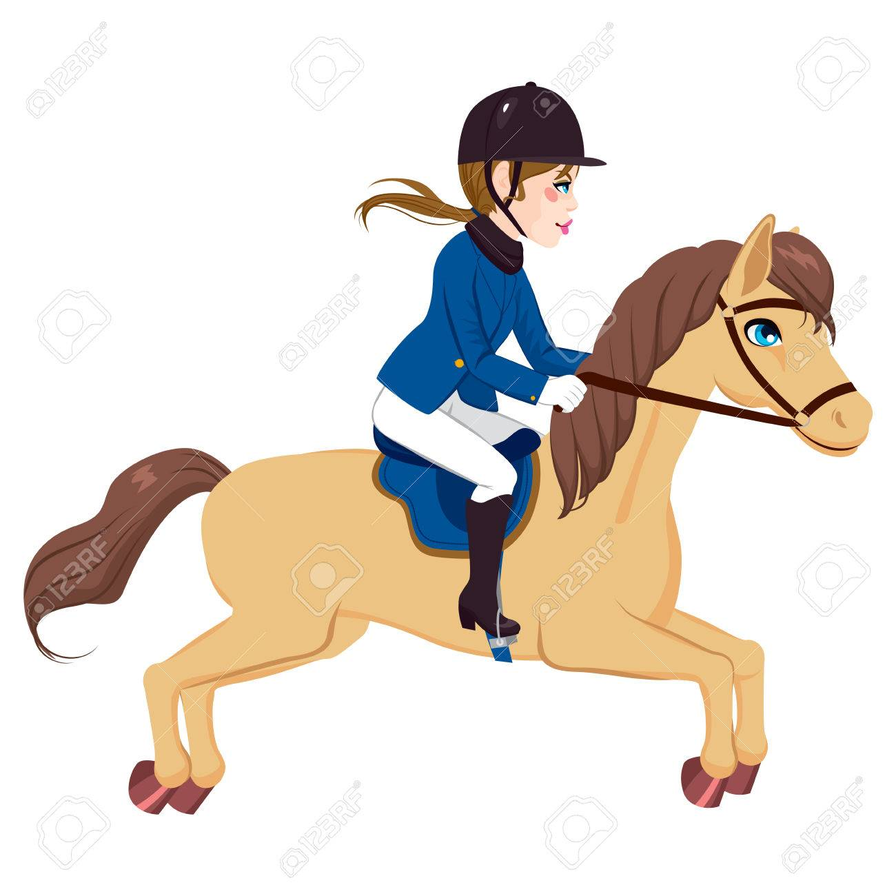Beautiful equestrian woman riding and running with horse - 48346220