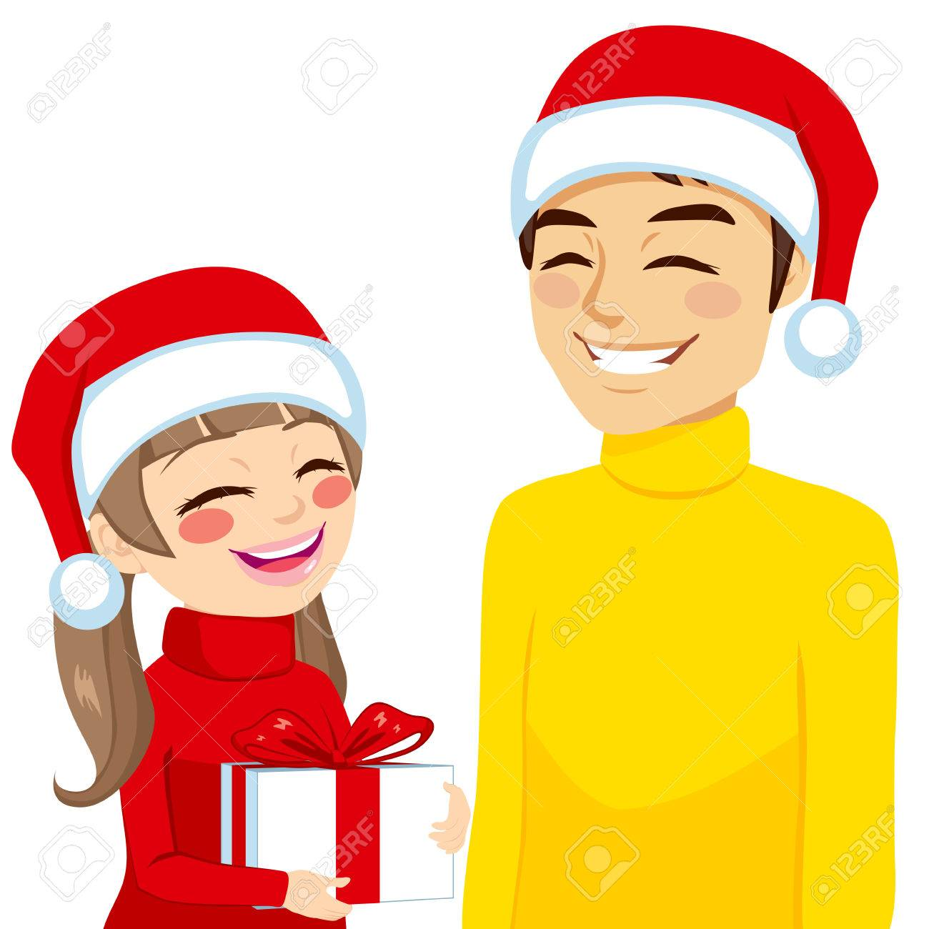 Family Illustration Of Daughter Giving Or Receiving Gift From ...