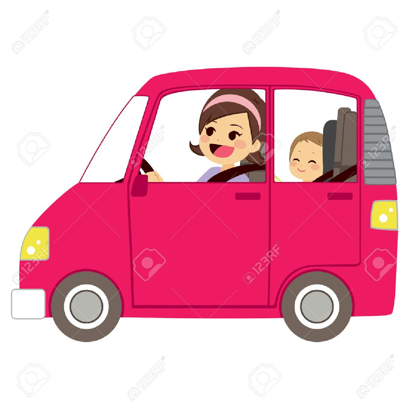 Beautiful young mom driving pink car with baby on back seat of vehicle - 53255946