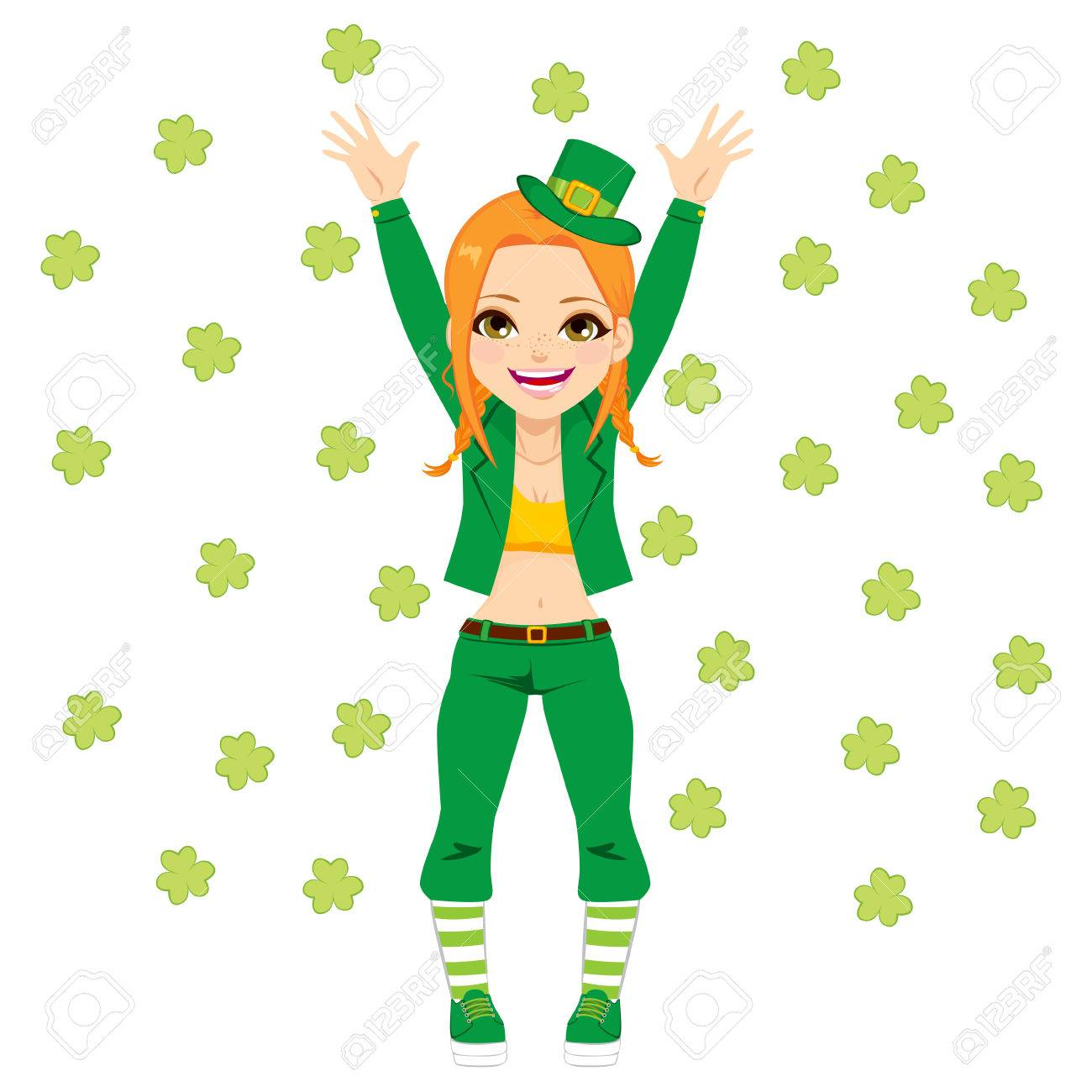 Cute happy girl with leprechaun costume surrounded by clovers celebrating Saint Patrick day Stock Vector -  sc 1 st  123RF.com & Cute Happy Girl With Leprechaun Costume Surrounded By Clovers ...