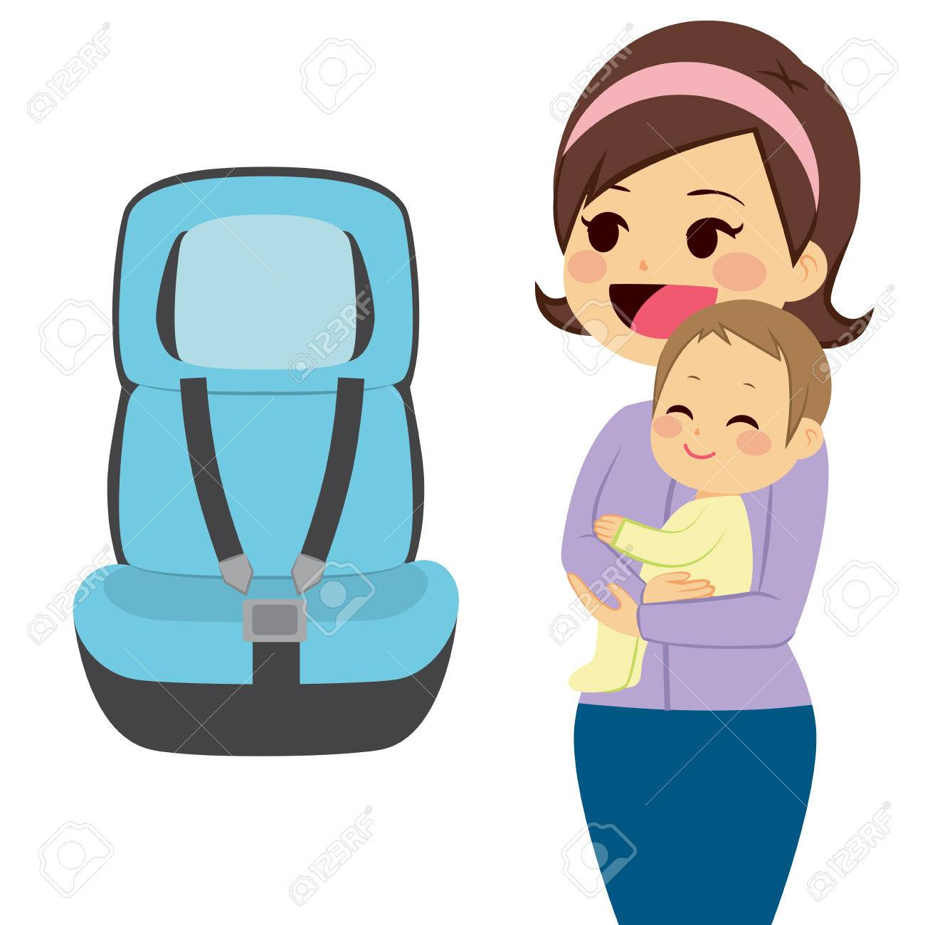 Beautiful Young Mother Holding Baby Next To Baby Car Seat Royalty