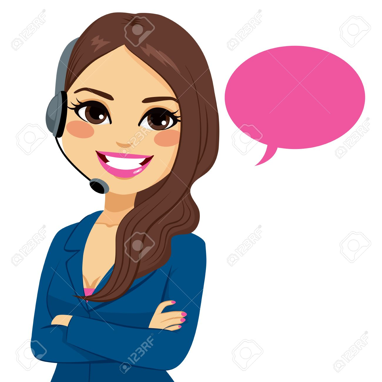 Portrait of happy smiling latina call center operator woman on support phone with headset isolated on white background - 53255996