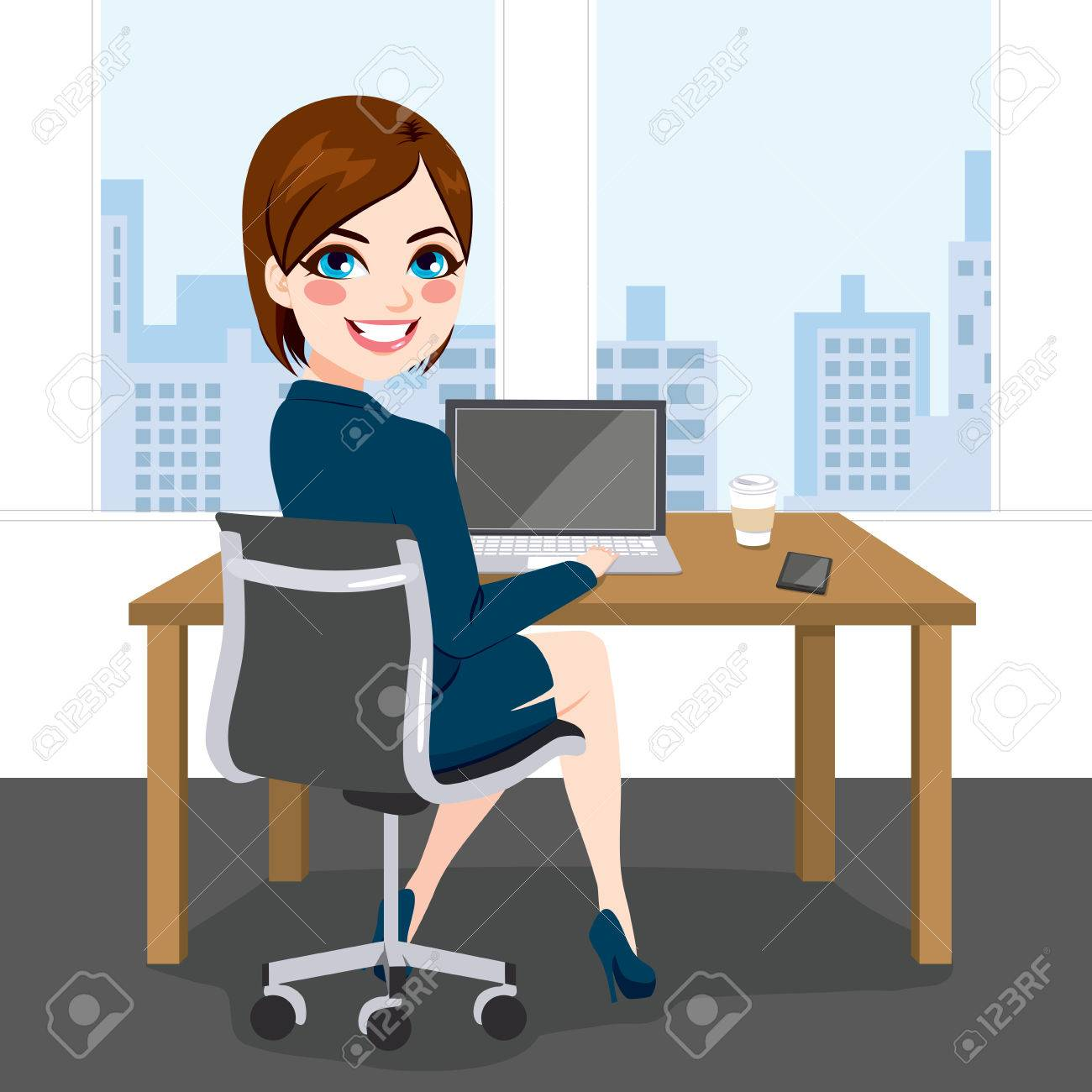 Beautiful brunette successful businesswoman back view sitting working with laptop at office - 53256053