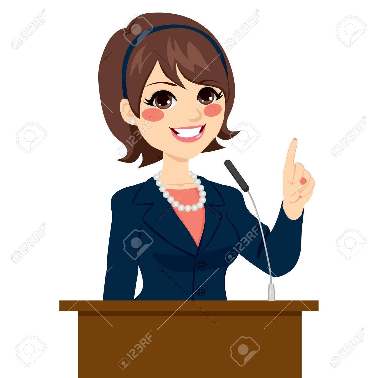 Jeune Belle Femme élégante Politicien Parlant Au Podium Isolé Sur ...