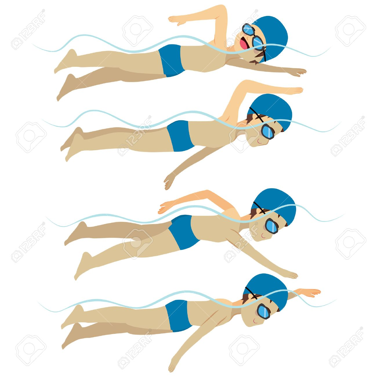 Set with athlete man swimming free style stroke on various different poses training - 55482504
