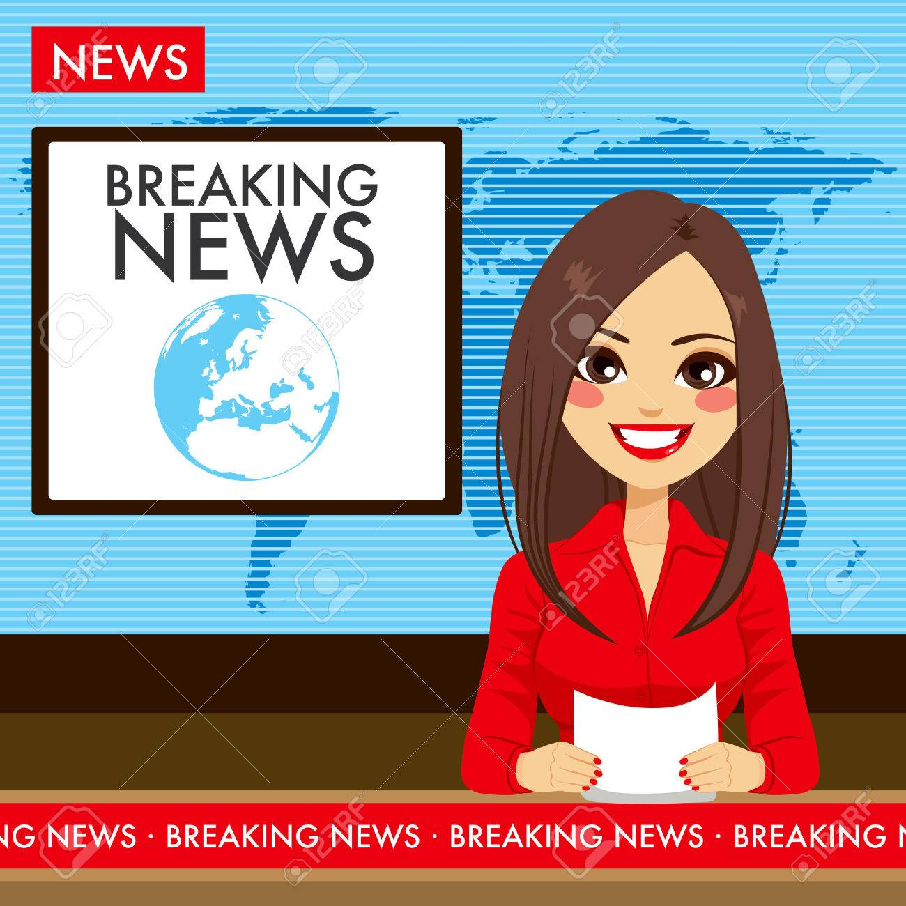 Beautiful Young Tv Newscaster Woman Reporting News Sitting In A Studio Stock Vector