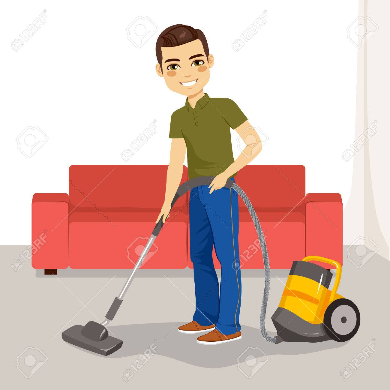 Young Man Using Vacuum Cleaner On His Living Room Royalty Free