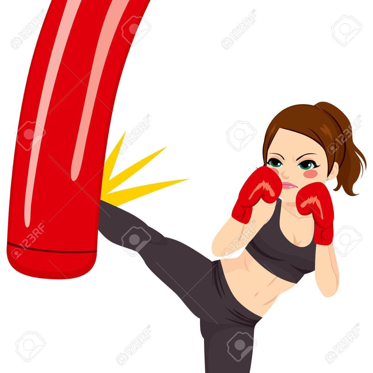 young strong woman kicking red punching bag with powerful leg rh 123rf com Fight Cancer Clip Art Boxing Glove Template