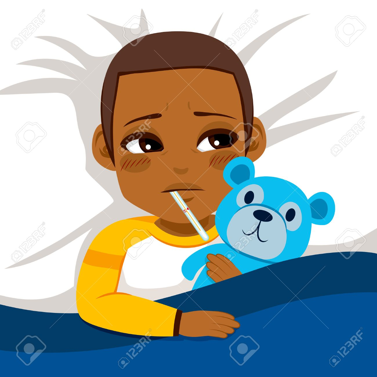 Little African American boy ill in bed with thermometer and hugging blue teddy bear - 57839521