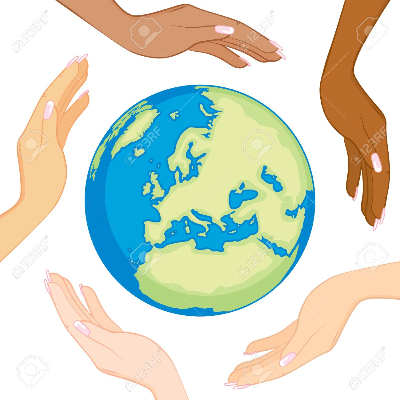 Ecology concept of beautiful diverse women hands surrounding and holding earth in the center - 57839520