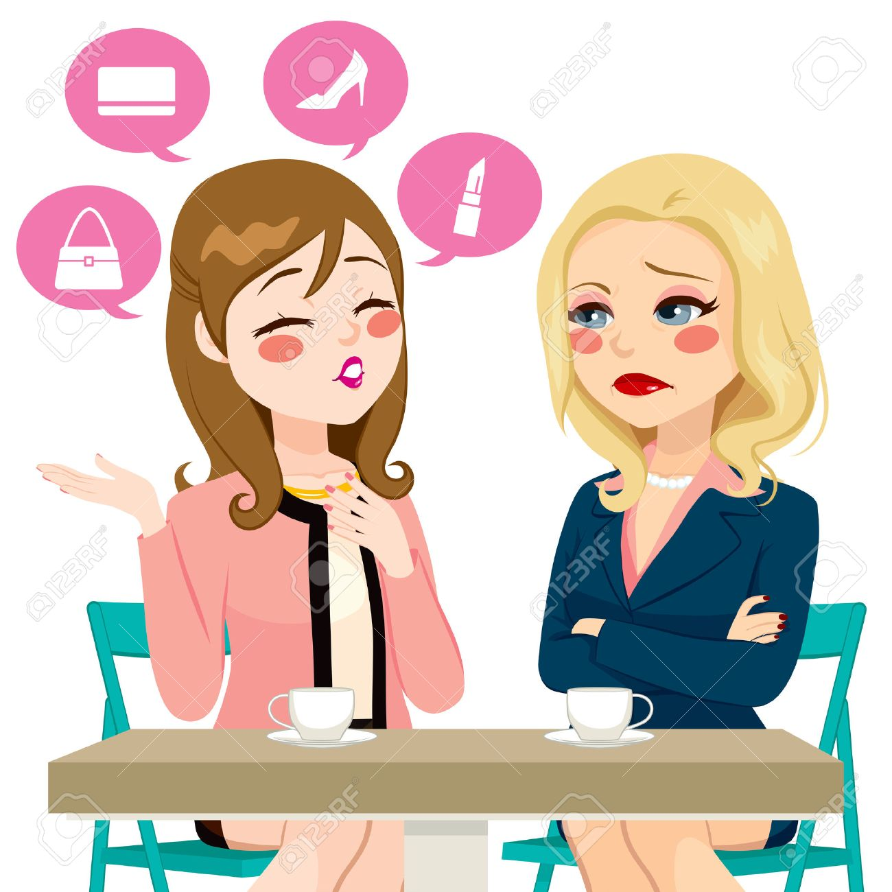 Young girl gossiping boasting about her life having coffee with adult woman in disbelief or disappointment - 57839525