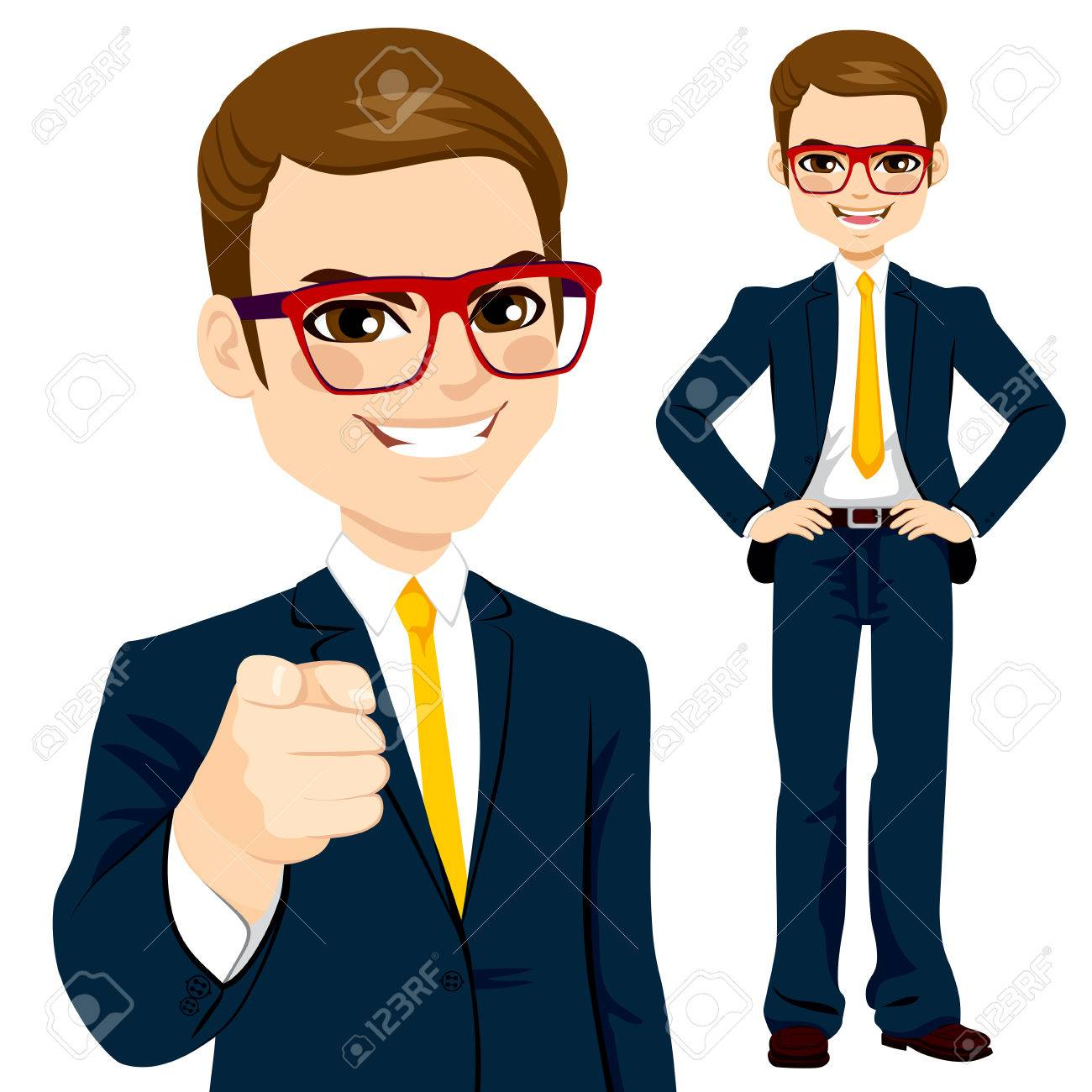 Professional businessman wearing suit and pointing finger - 58655954